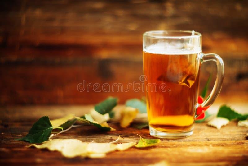 Glas heißer Fruchttee Buch, Apfel, verlässt Herbst, Fallstimmung Komforthaus stockfoto