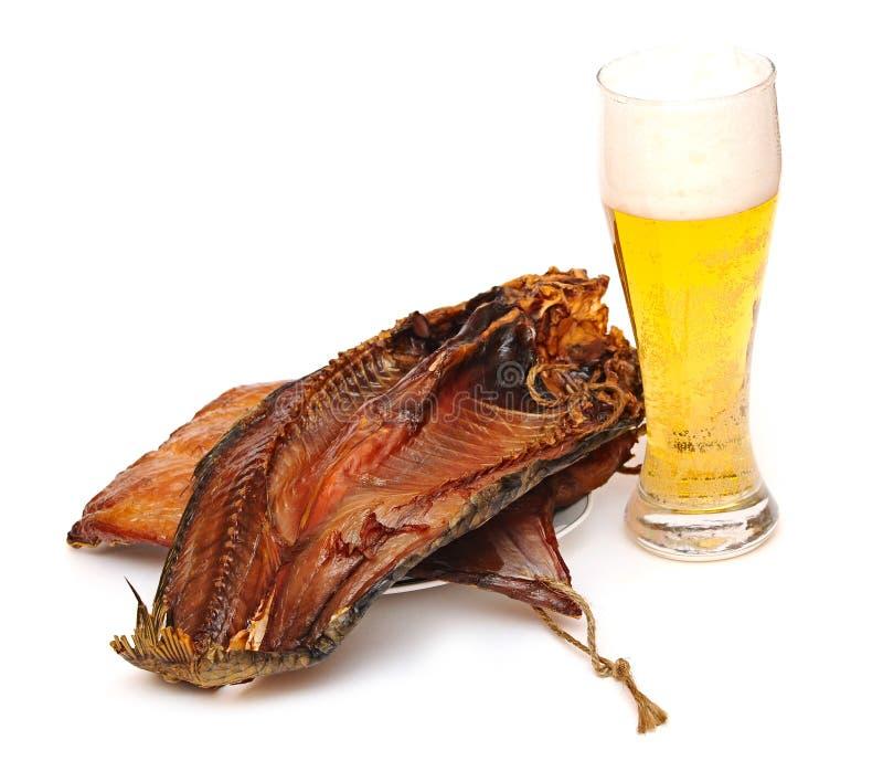 Glas helles Bier mit den Fischen stockbilder