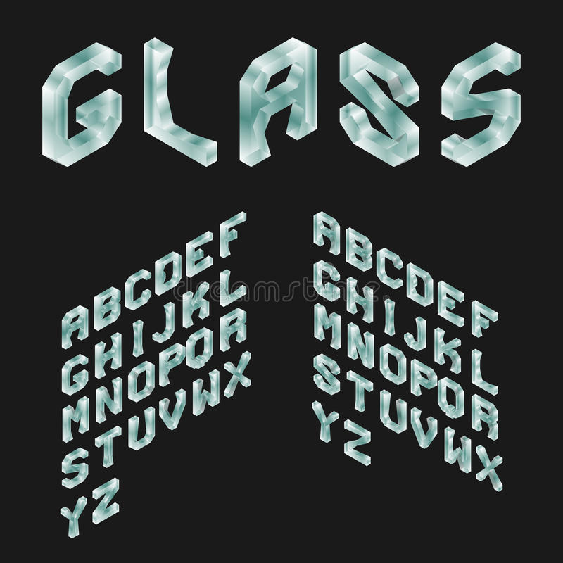 Glas Isometrisch Latijns Alfabet 3D Geometrische Doopvont stock illustratie