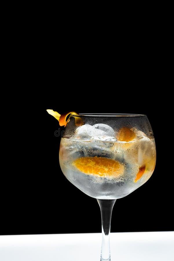 Glas jenever en tonicums met ijs royalty-vrije stock foto