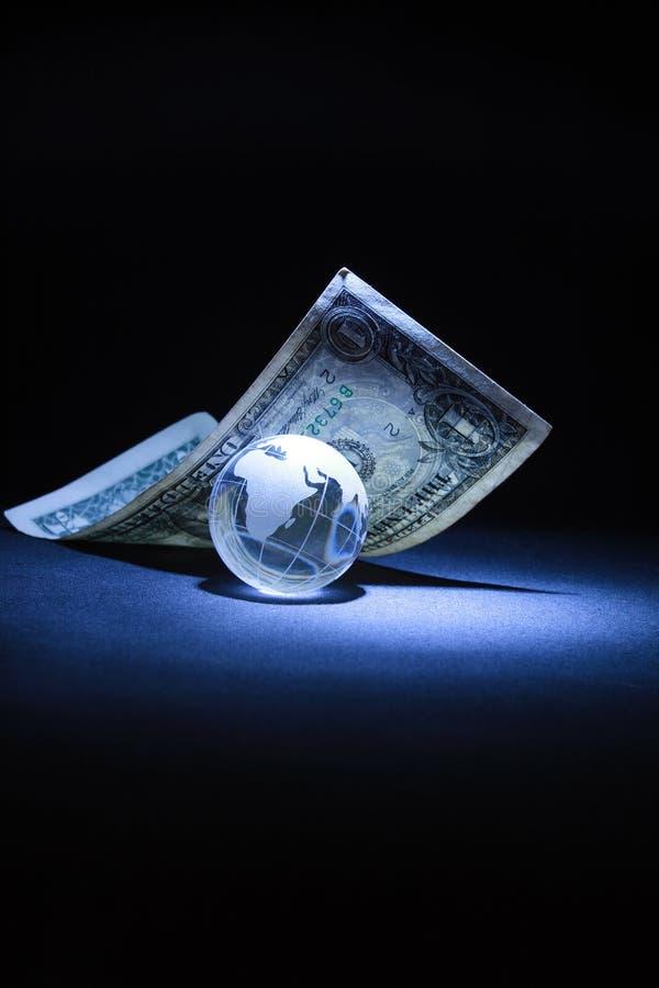 glas- jordklot ett för dollar arkivbild
