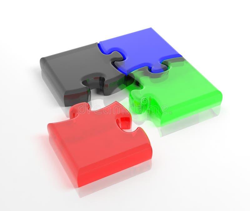 Glas kleurrijke puzzel stock illustratie