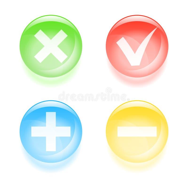 Glas- knappar för Checkbox vektor illustrationer