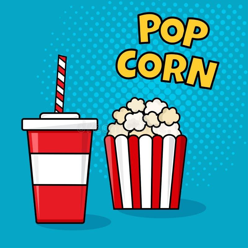 Glas Kolabaum und Popcorn Vektor lizenzfreie abbildung