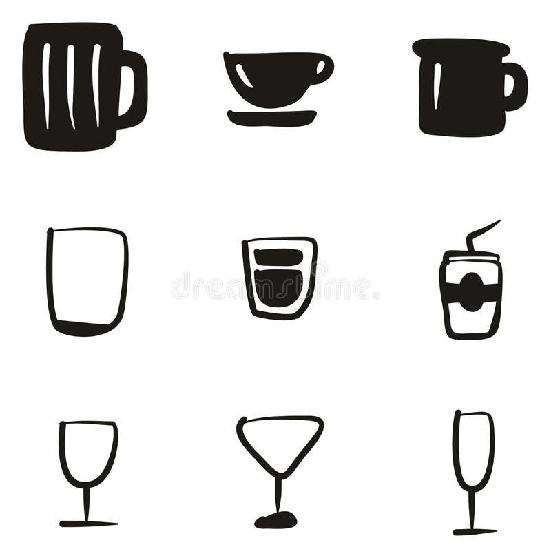 Glas of Kop de Pictogrammen Uit de vrije hand vullen royalty-vrije illustratie