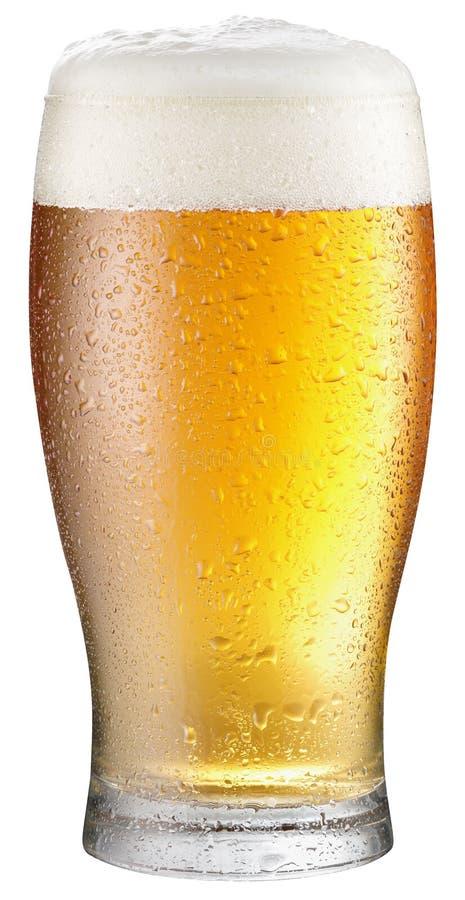 Glas koud bier op een witte achtergrond stock afbeelding
