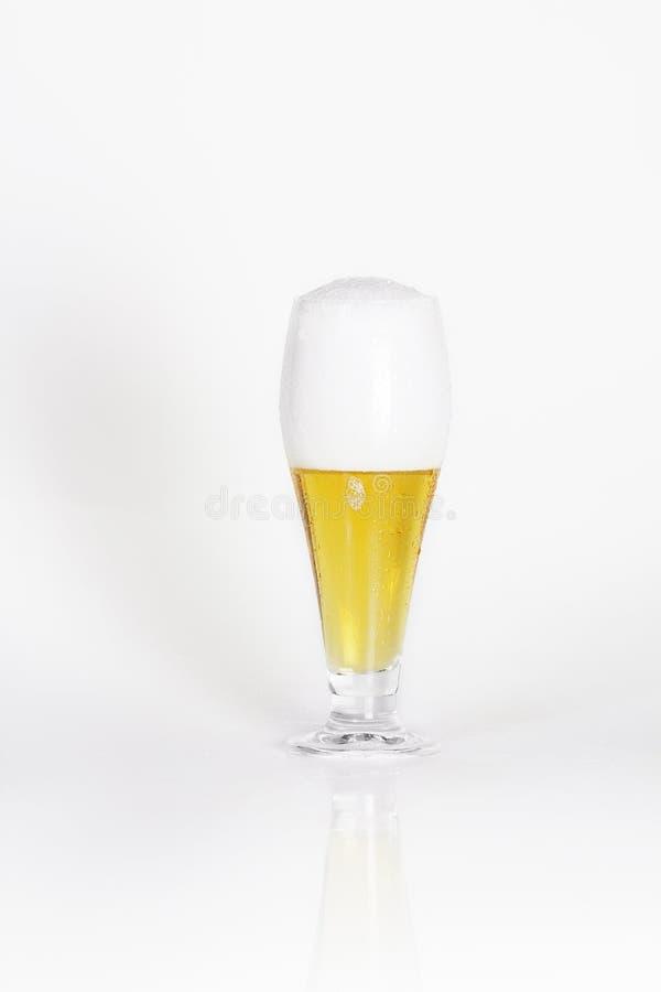 Glas koud lagerbierbier met schuim royalty-vrije stock fotografie