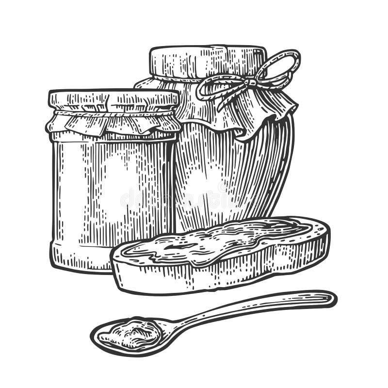 Glas, Löffel und Scheibe brot mit Stau vektor abbildung