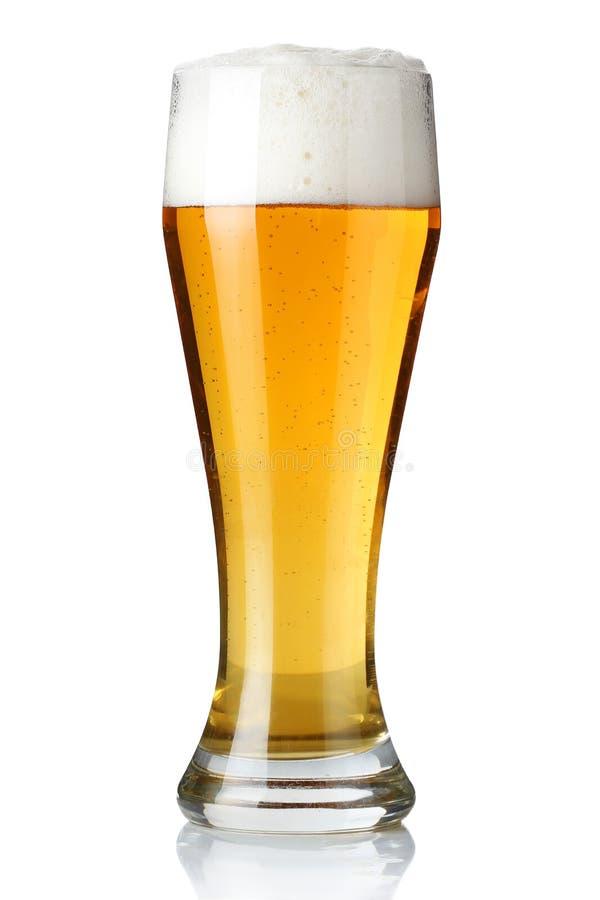 Glas licht bier dat op een wit wordt geïsoleerdg stock foto