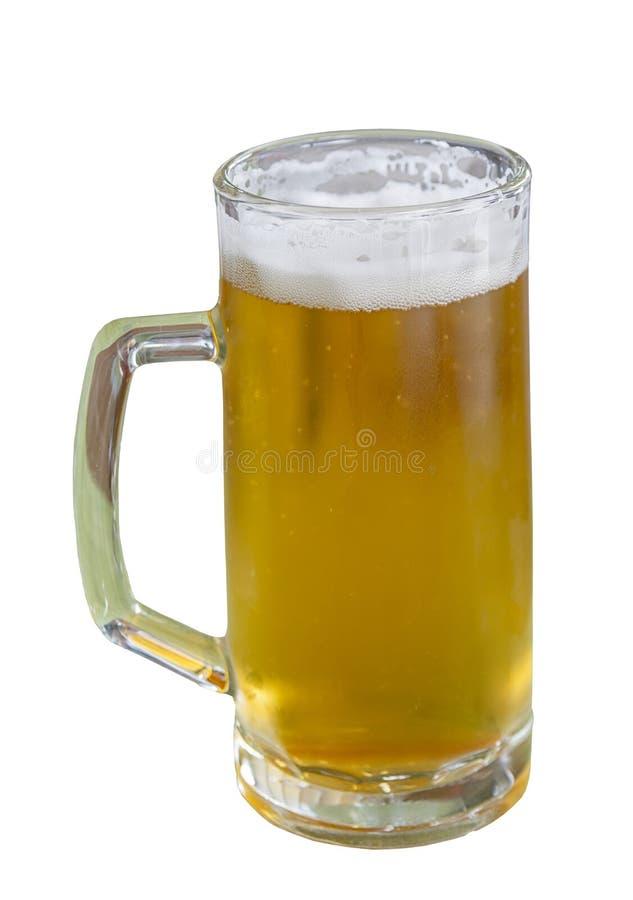 Glas licht die bier op wit wordt geïsoleerd royalty-vrije stock foto