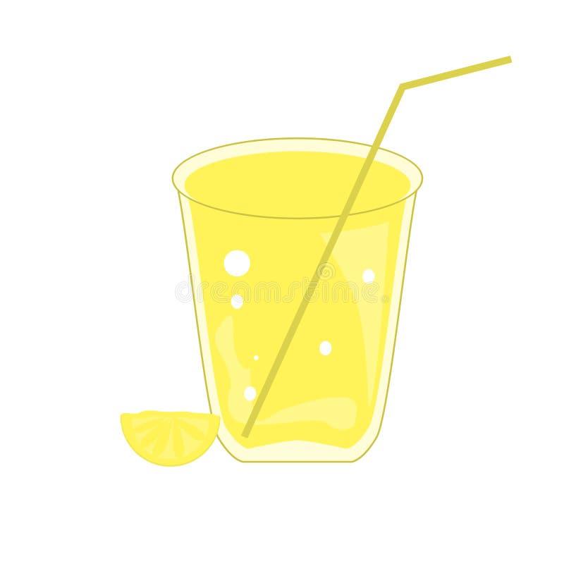 Glas limonade met een plak van citroen op een witte achtergrond wordt geïsoleerd die stock illustratie