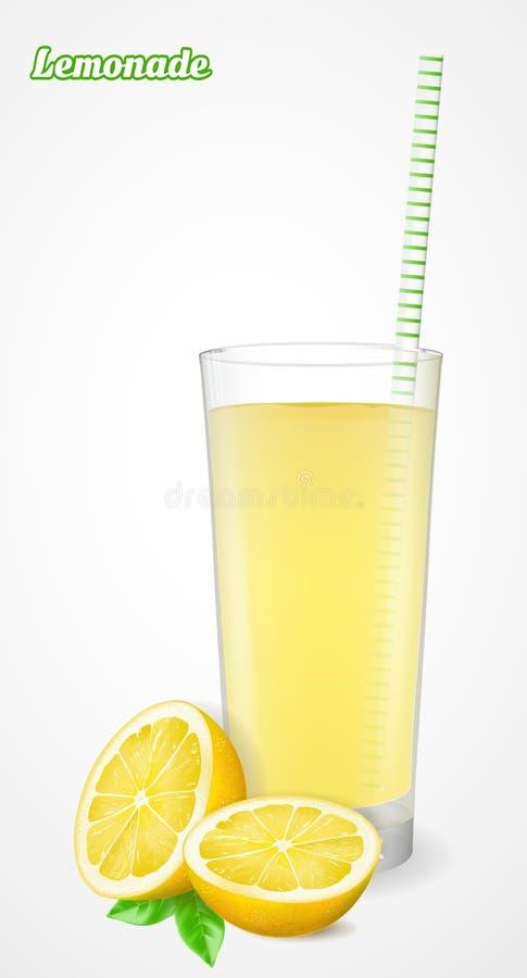 Glas limonade met stro en de helft van een citroen met blad Vector illustratie vector illustratie
