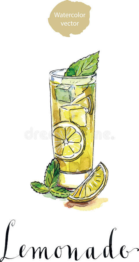 Glas Limonade oder Zitronensaft mit Eiswürfeln und geschnittener Zitrone stock abbildung