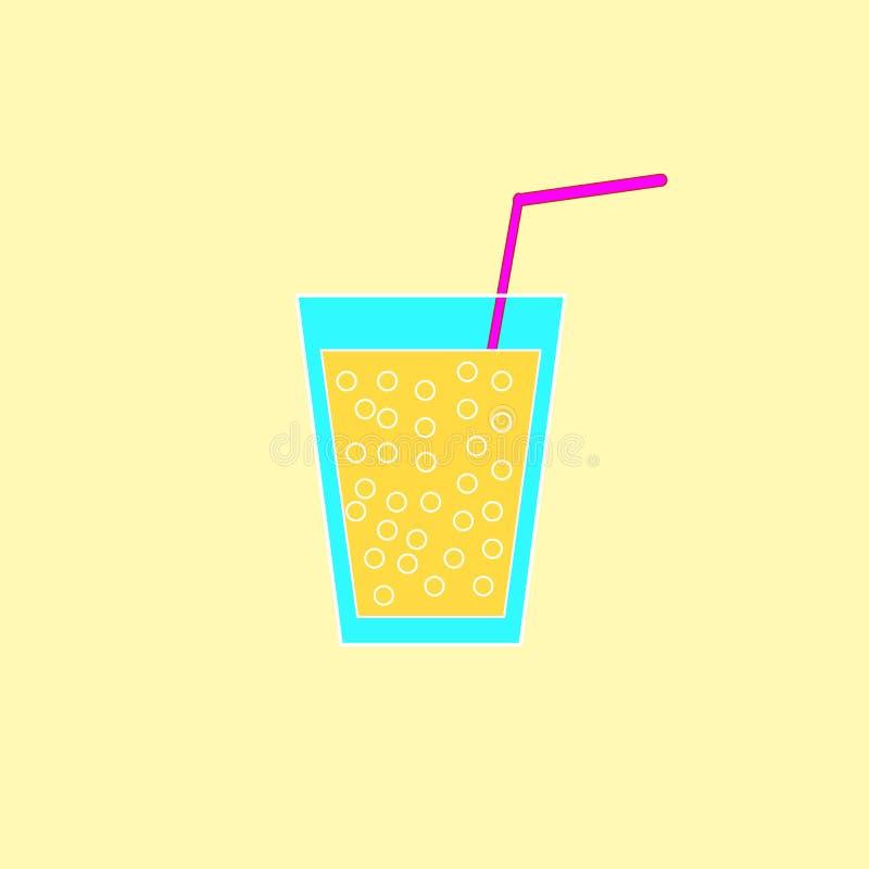Glas limonade op de gele achtergrond vector illustratie