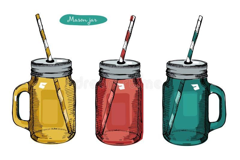Glas Mason Jar met handvat, het drinken stro voor cocktail en limonade en smoothie Voor bar en restaurantmenu Vector stock illustratie