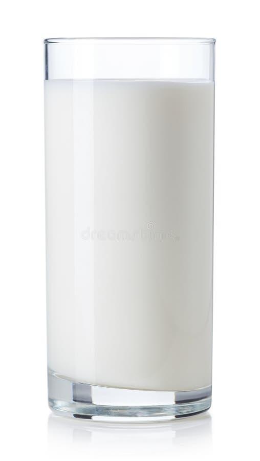Glas melk op witte achtergrond stock foto's
