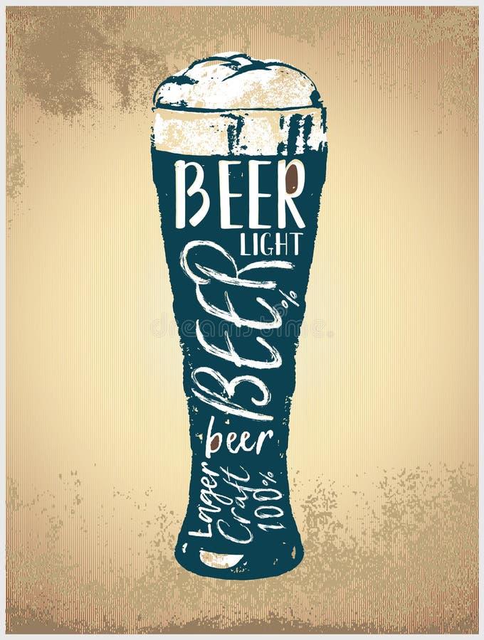 Glas met bier in grafische stijl royalty-vrije illustratie