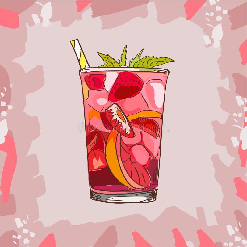Glas met klassieke aardbeilimonade - mooie vectorillustratie van plakken van citroen, aardbeien, munt, ijsblokjes stock illustratie