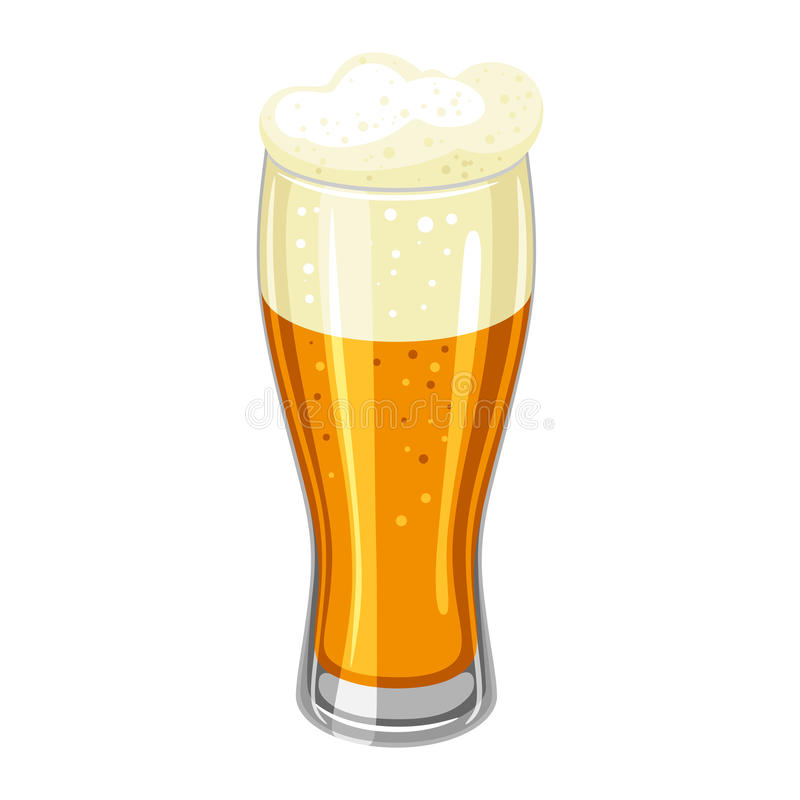 Glas met licht bier en schuim Illustratie voor Oktoberfest stock illustratie