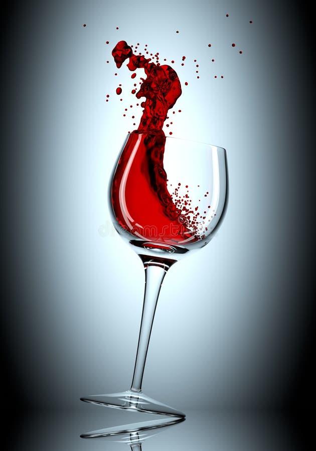 Glas met rode wijnplons, 3d illustratie vector illustratie