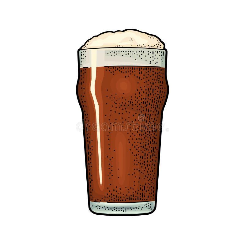 Glas met stoutbier Uitstekende kleuren vectorgravure stock illustratie