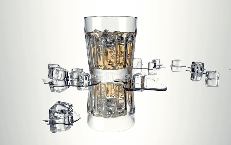 Glas met wiskey en ijs op wit stock illustratie