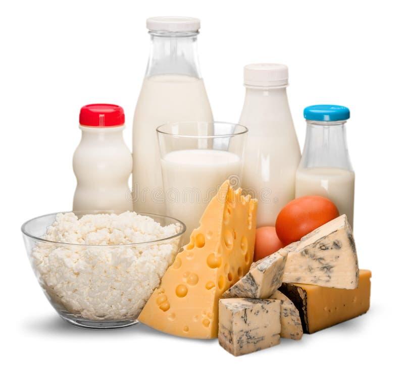 Glas Milch und Milchprodukte lizenzfreie stockbilder