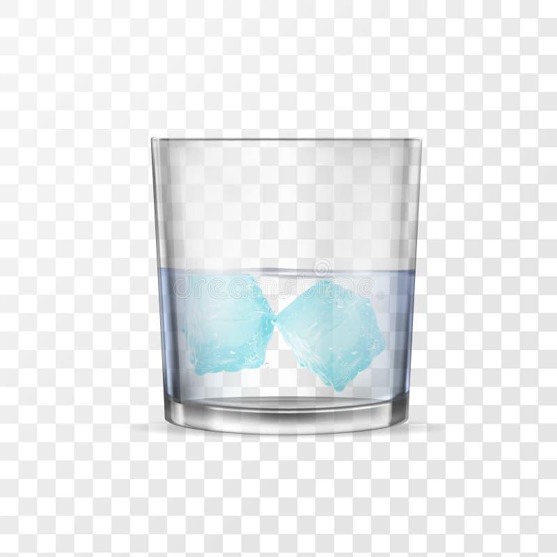 Glas mit Alkohol oder Wasser und zwei Eisw?rfel stock abbildung