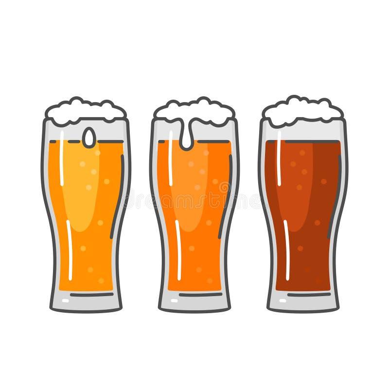 Glas mit drei Arten Bier ENV 10 lizenzfreie abbildung