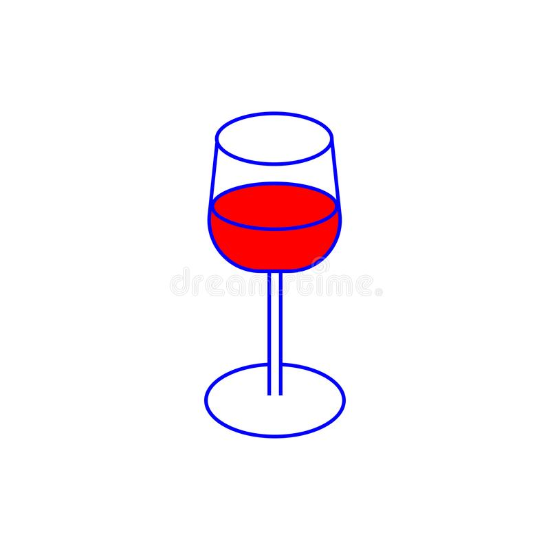 Glas mit roter Getränkikone lizenzfreie abbildung