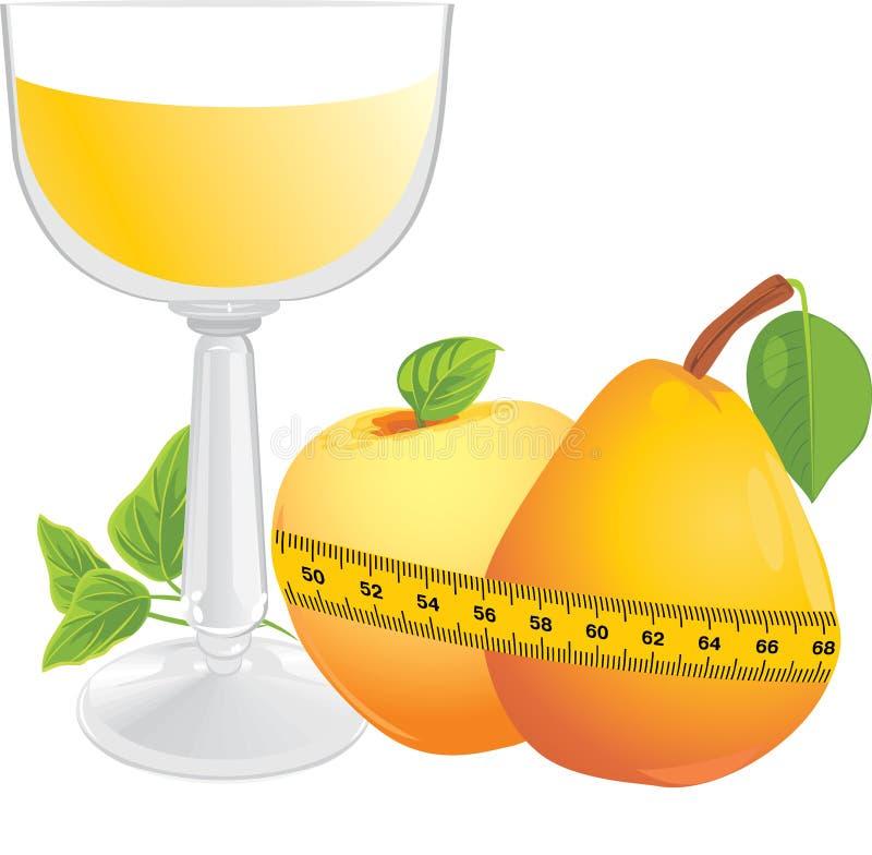 Glas mit Saft, Früchten und messendem Band