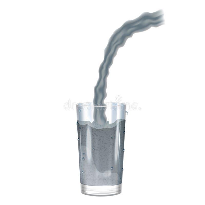 Glas mit Schmutzwasser, Verschmutzungskonzept Auch im corel abgehobenen Betrag vektor abbildung