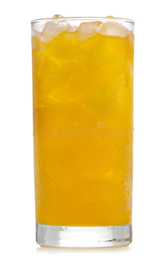Glas orange Soda mit Eis lizenzfreie stockbilder
