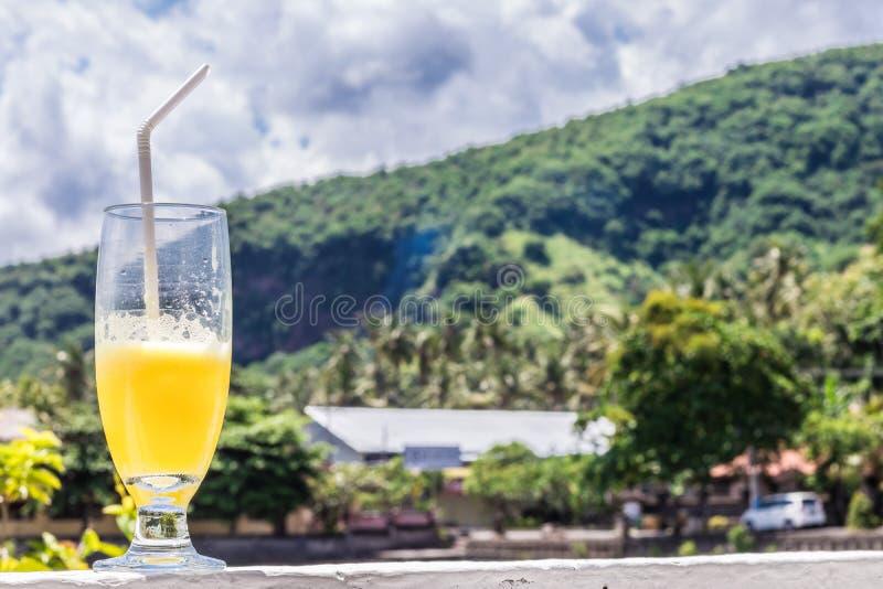 Glas Orangensaft auf hellem tropischem unscharfem Hintergrund mit Palmen, draußen Tropische Bali-Insel, Indonesien stockbilder