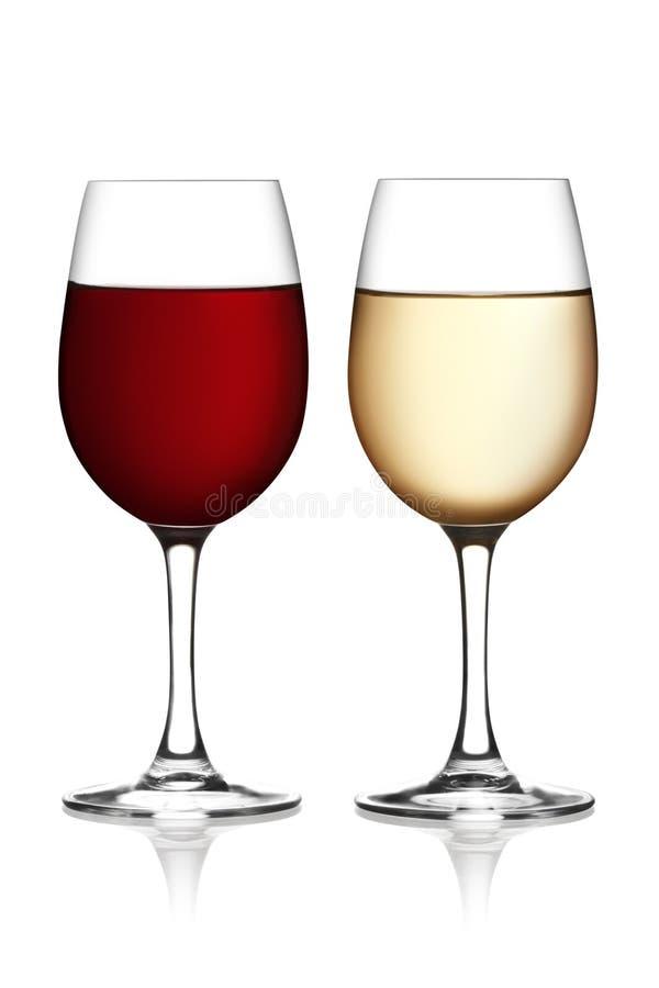 Glas rode en witte wijn stock afbeeldingen