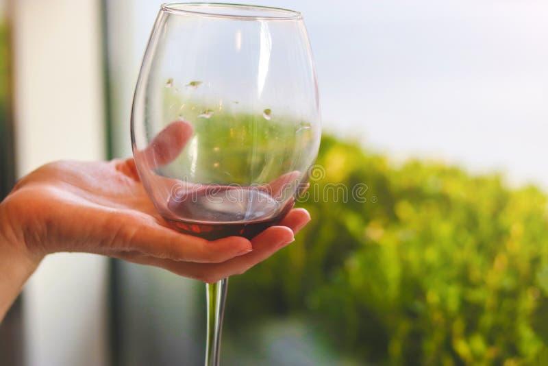 Glas Rotwein in der Hand stockfotografie