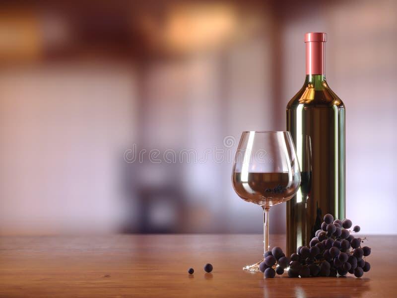 Glas Rotwein, Glasflasche Wein, Trauben, Holztisch, verwischte Restaurant, Café auf Hintergrund, Kopientextplatz lizenzfreie stockfotografie