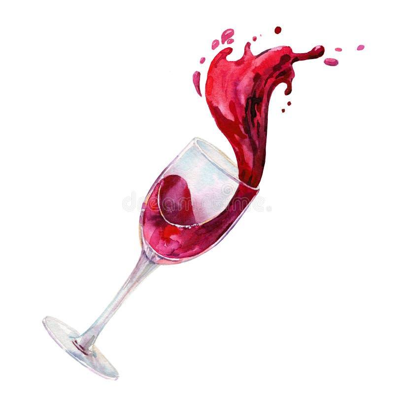 Glas Rotwein mit dem Weinspritzen Aquarell-handgemalte Illustration lokalisiert auf wei?em Hintergrund stock abbildung