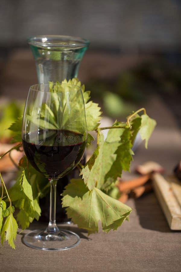 Glas Rotwein, mit Karaffe, Käse und Trauben stockbild