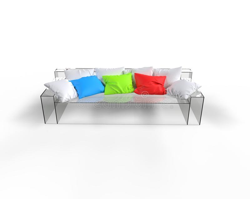 Glas Sofa With Colorful Pillows royalty-vrije stock fotografie