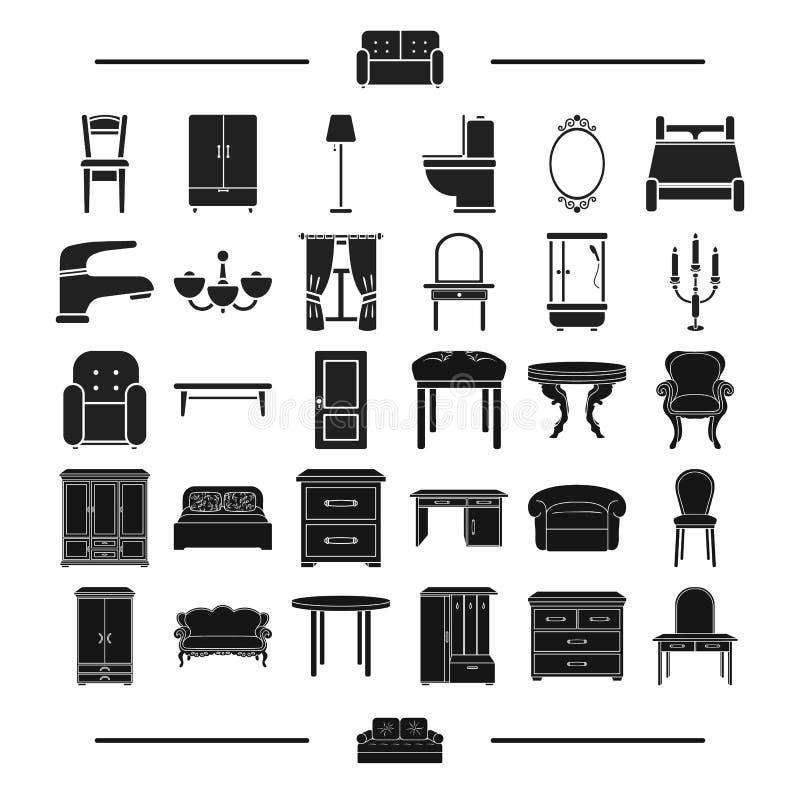 Glas, textiel, loodgieterswerk en ander Webpictogram in zwarte stijl ontwerp, model, meubilair, pictogrammen in vastgestelde inza vector illustratie