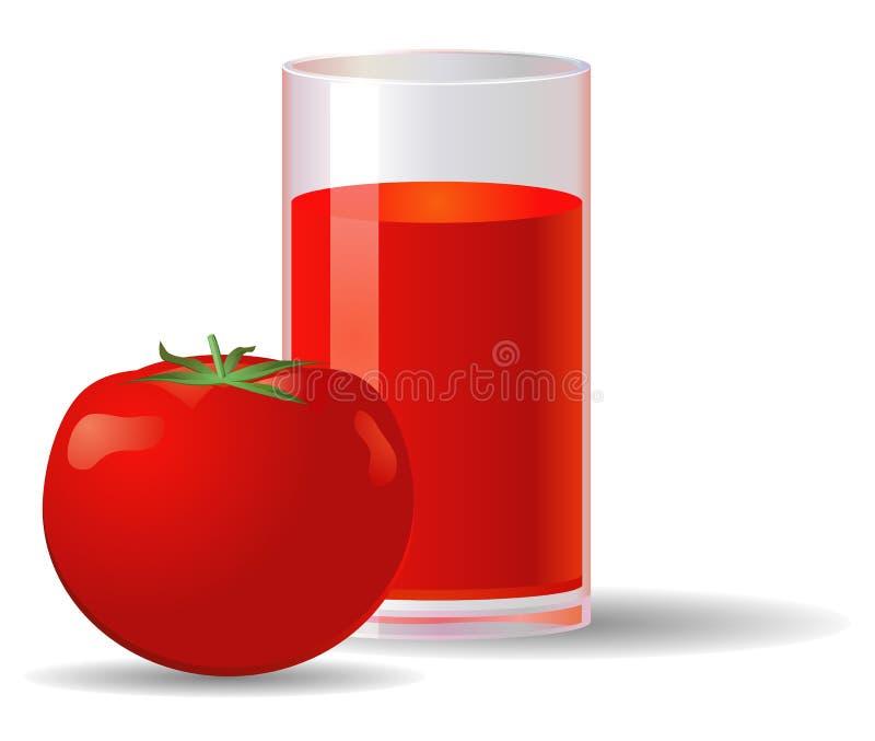 Glas tomatesap en tomatenfruit royalty-vrije stock fotografie