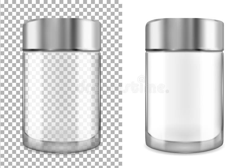 Glas transparante kruik met zwart GLB Verpakking voor schoonheidsmiddelen vector illustratie