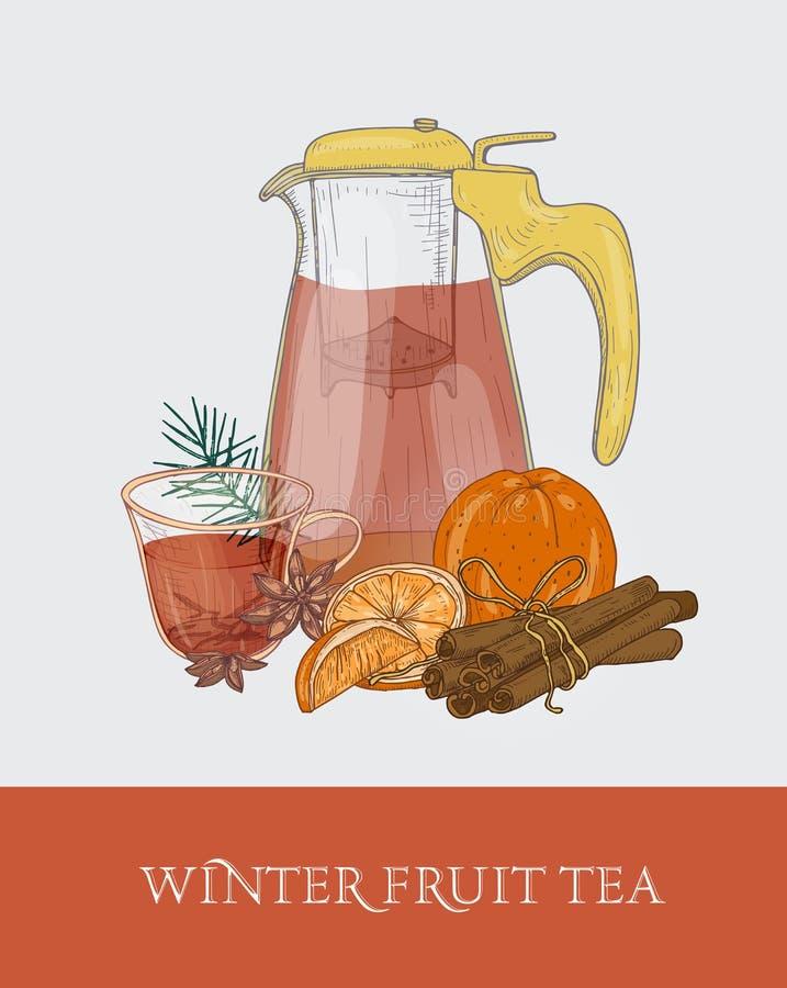 Glas transparante theepot of waterkruik met zeef, kop van de thee van het de winterfruit, verse sinaasappel, kaneel en steranijsp stock illustratie