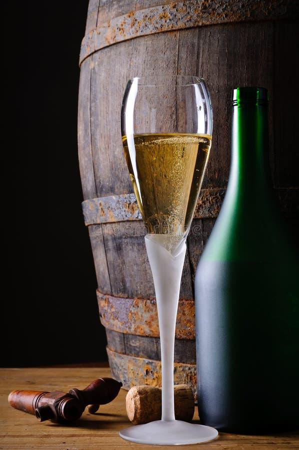 Glas und Flasche Champagner stockbild