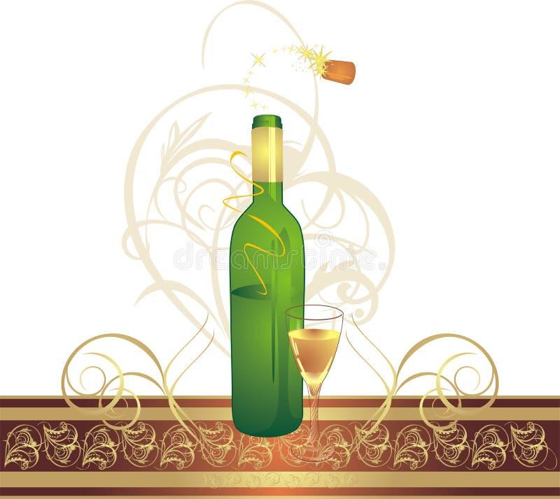 Glas und Flasche mit dekorativem Farbband lizenzfreie abbildung