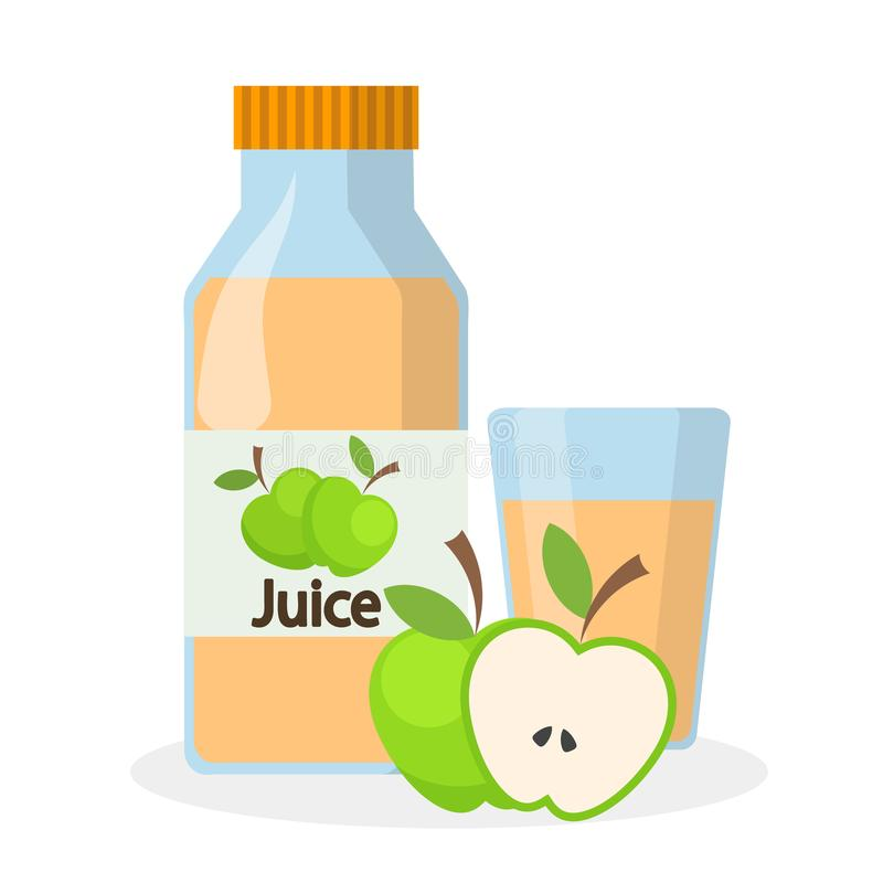 Glas und Flasche von Apfelsaft und von Hälfte des grünen Apfels, v auf Lager lizenzfreie abbildung