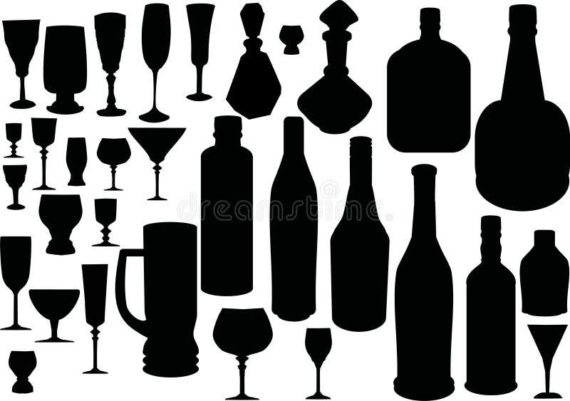 Glas- und Flaschenschattenbilder stock abbildung