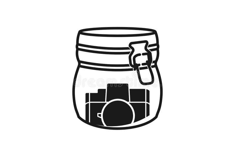 Glas und Fotografieikonenlogodesigninspiration stock abbildung