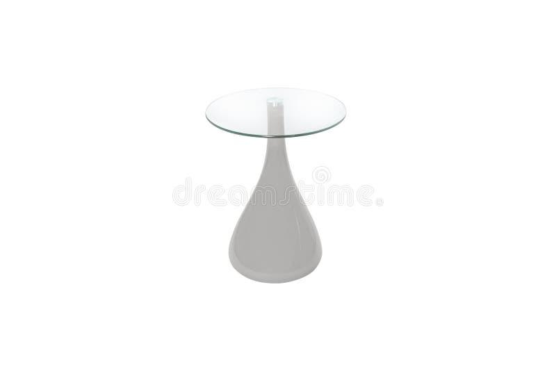 Glas-und h?lzernemoderne Tabelle auf wei?em Hintergrund lizenzfreies stockfoto